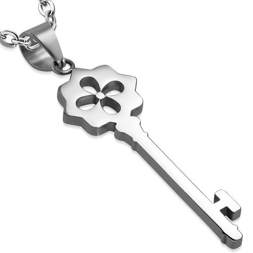 Stainless Steel Cut-out Flower Skeleton Key Charm Pendant