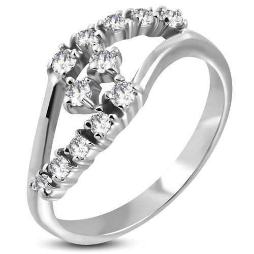 Stainless Steel Attractive Journey Split Shank Bypass Ring w/ Clear CZ