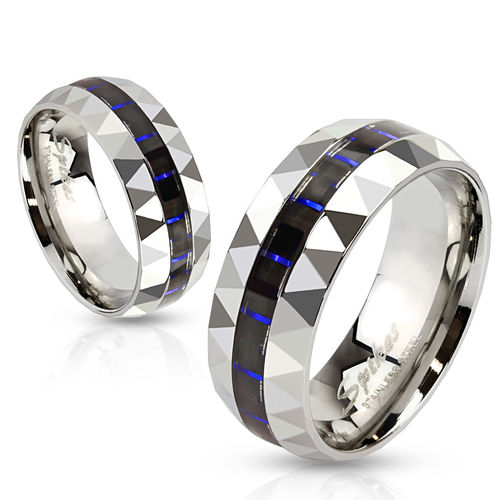 Blue and Black Carbon Fiber Inlay Stainless Steel Faceted Edge Band Ring