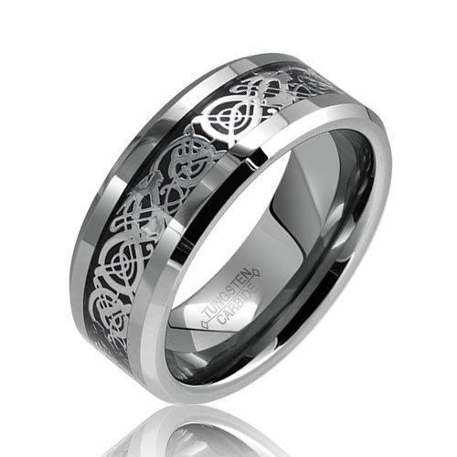 8mm Tungsten Carbide Ring Black Background silver dragon inlay for men and women