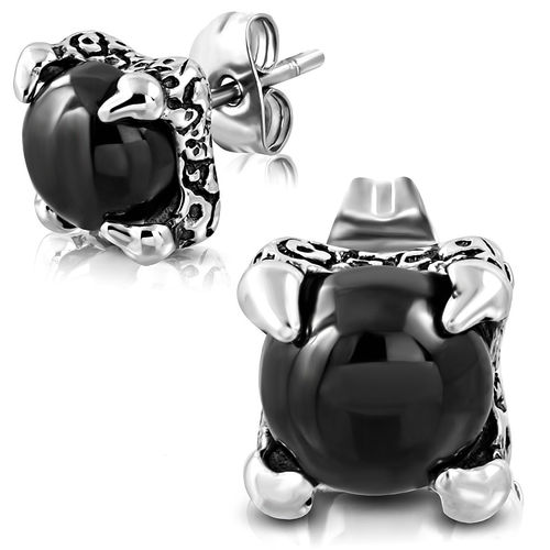 Stainless Steel 2-Tone Dragon Hand Ball Stud Earrings W/ Black Onyx (Pair)