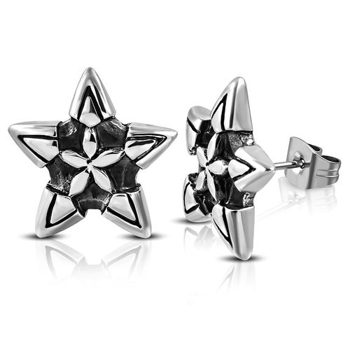 Stainless Steel 2-Tone Flower Star Biker Stud Earrings (Pair)
