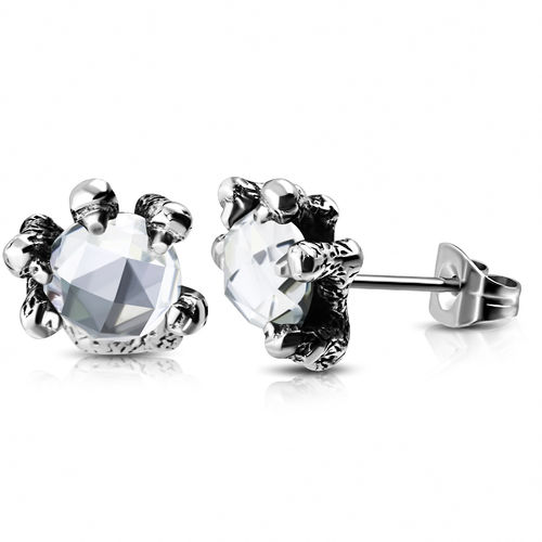 Stainless Steel Dragon Hand Crystal Ball Stud Earrings w/ Clear CZ  (pair)