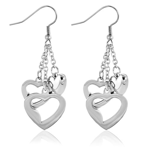 Stainless Steel Concentric Open Love Heart Slinky Drop Hook Earrings (Pair)