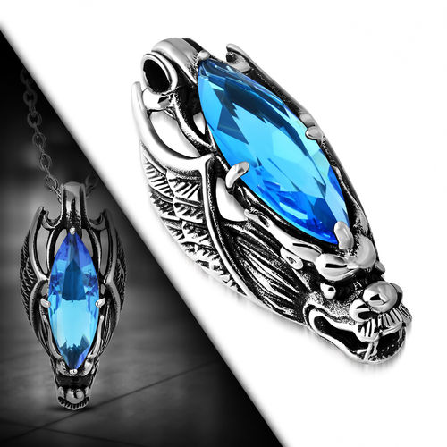 Stainless Steel 2-Tone Crystal Dragon Wing Invisible Bail Biker Pendant W/ Faceted Aquamarine CZ