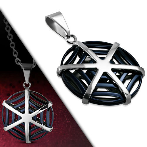 Stainless Steel 2-Tone Spider Web Circle Charm Pendant
