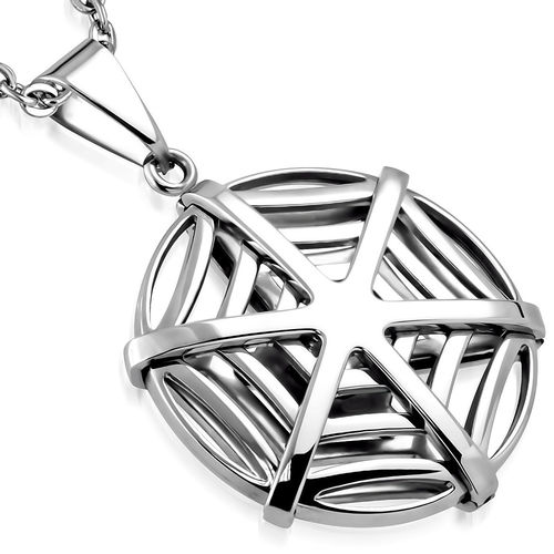 Stainless Steel Spider Web Circle Charm Pendant