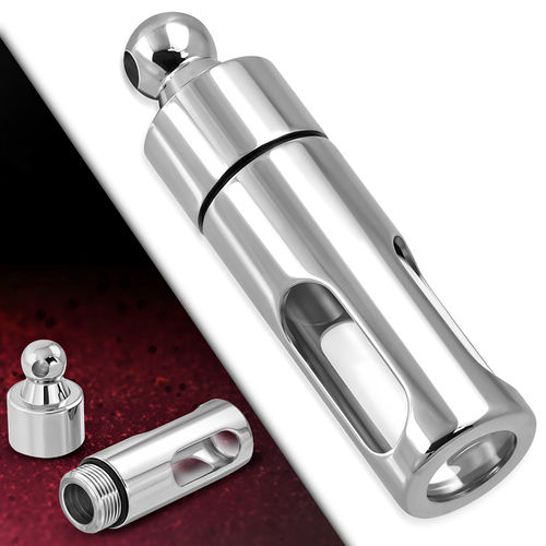 Stainless Steel W/ Glass Memorial Ashes Urn Pill Case Cylinder Pendant