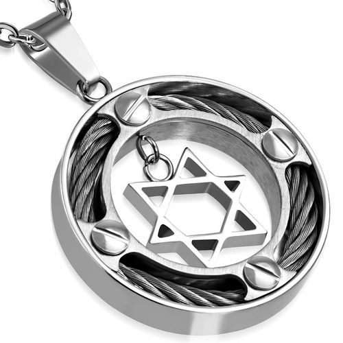 Stainless Steel Celtic Twisted Cable Wire Circle Star Of David Charm Pendant