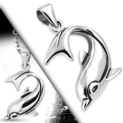 Stainless Steel 2-Tone Spiral Dolphin Charm Biker Pendant