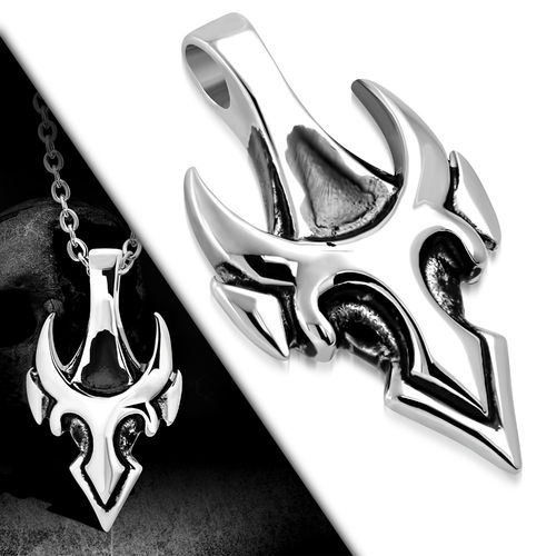 Stainless Steel 2-Tone Bico Masculine Bull Invisible Bail Biker Pendant