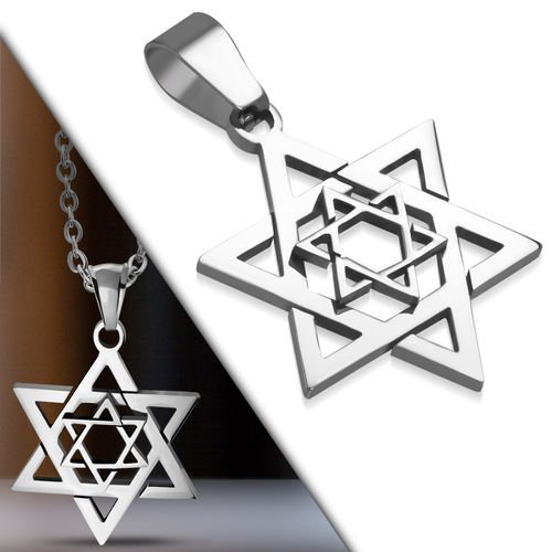 Stainless Steel Cut-Out Concentric Star Of David Charm Pendant