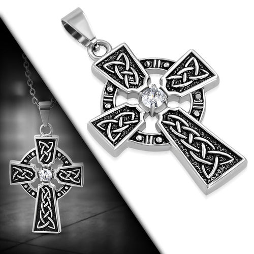 Stainless Steel 2-Tone Celtic Trinity Knot Clonmacnoise Cross Pendant W/ Clear CZ