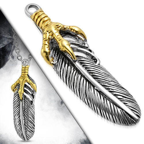 Stainless Steel 2-Tone Eagle Claw Feather/ Leaf Biker Pendant