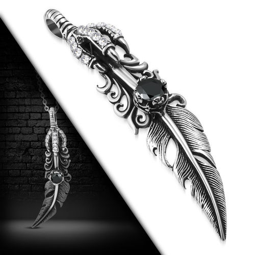 Stainless Steel 2-Tone Dragon Claw Bird Feather Invisible Bail Biker Pendant W/ Jet Black CZ