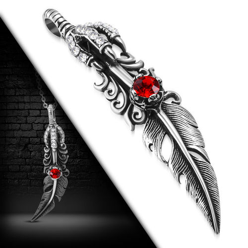 Stainless Steel 2-Tone Dragon Claw Bird Feather Invisible Bail Biker Pendant W/ Light Siam Red CZ
