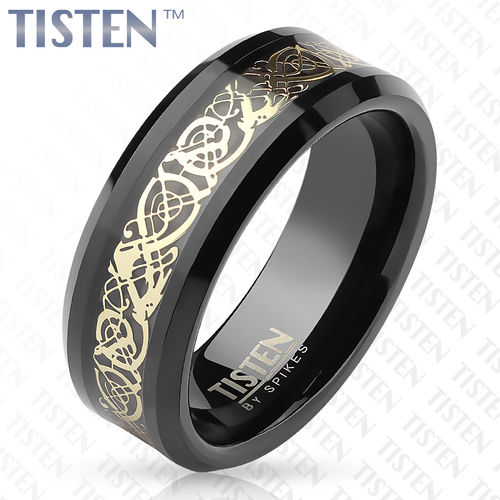 Gold Vintage Filigree Inlay Center Black Tungsten Titanium Alloy TISTEN Rings