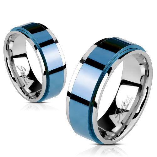 Spinning Center Blue IP 316L Stainless Steel 2 Tone Double Layered Ring