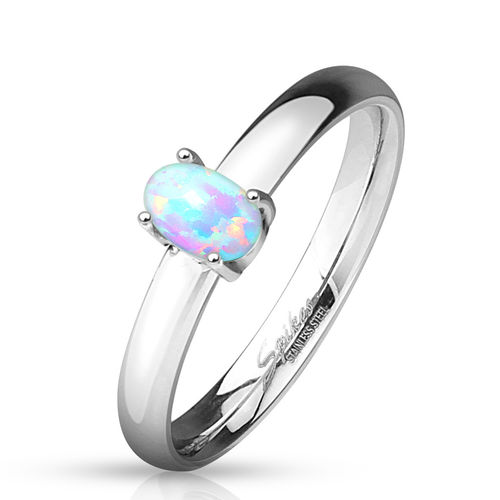 Oval Opal Prong Set Classic Dome Stainless Steel Engagement Rings