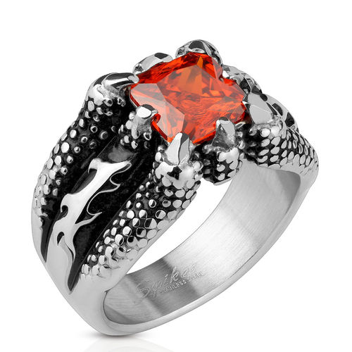 Fire Dragon Claw Set Ruby Red Square Gem Cast Ring Stainless Steel