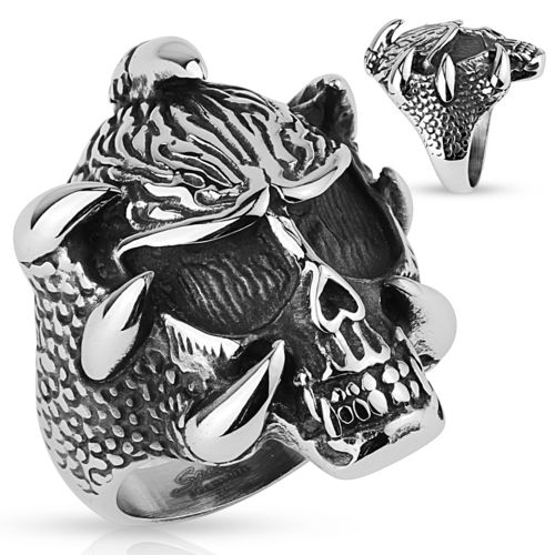 Skull with Claws Stainless Steel Rings