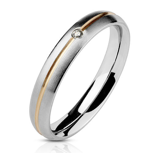 Striped Rose Gold IP with Clear CZ Band Ring Stainless Steel