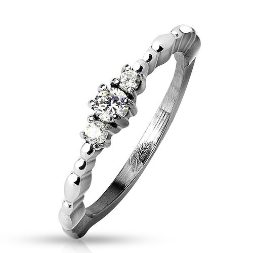 Linked 3 CZ Center Beaded Side Stainless Steel Ring