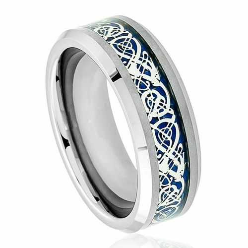 Tungsten Carbide Celtic Dragon Ring with Blue Background
