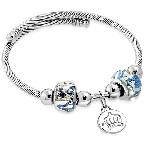 Celtic Twisted Cable Wire Royal Princess Crown Circle Charm Pandora Beads Adjustable Cuff Bangle