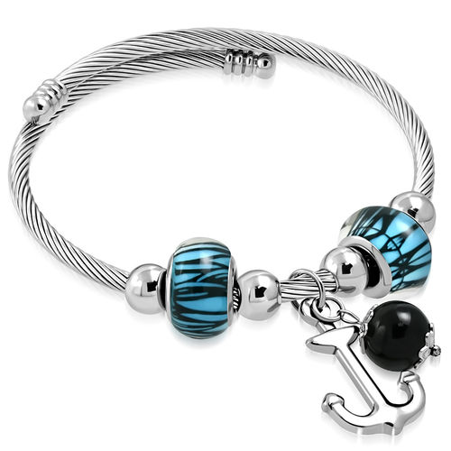 Celtic Twisted Cable Wire Marine Anchor Charm Pandora Beads Adjustable Cuff Bangle