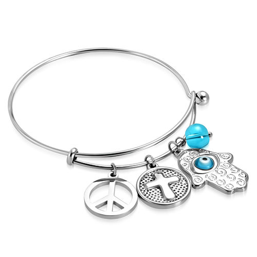2-tone Peace Sign Cross Circle Evil Eye Hand of Fatima/ Hamsa Charm Adjustable Bangle