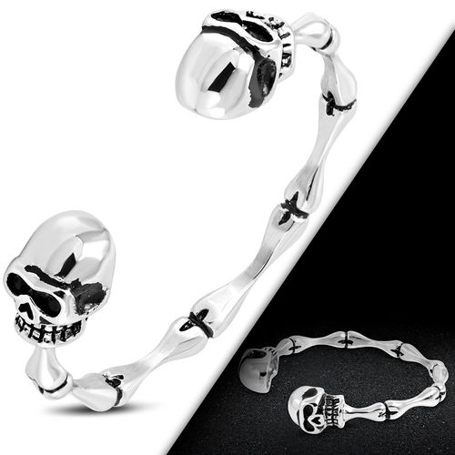 Stainless Steel 2-tone Skeleton Skull Torc Cuff Biker Bangle