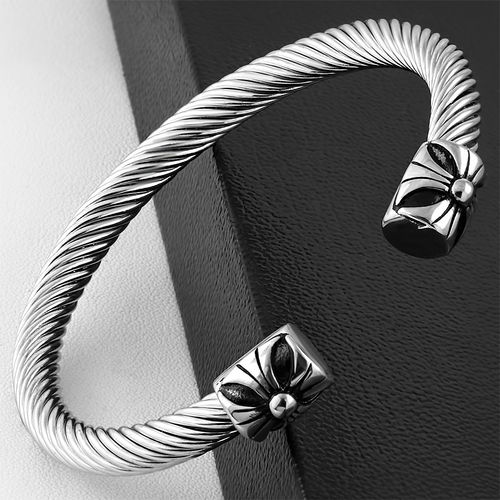 Stainless Steel 2-tone Celtic Twisted Cable Wire Fleur De Lis Flower Biker Torc Cuff Bangle