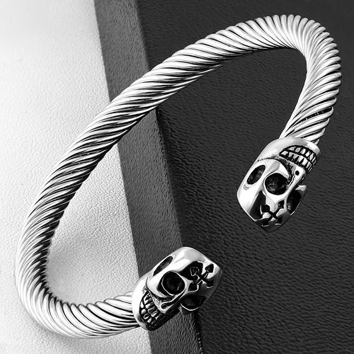 Stainless Steel 2-tone Celtic Twisted Cable Wire Cross Skull Biker Torc Cuff Bangle