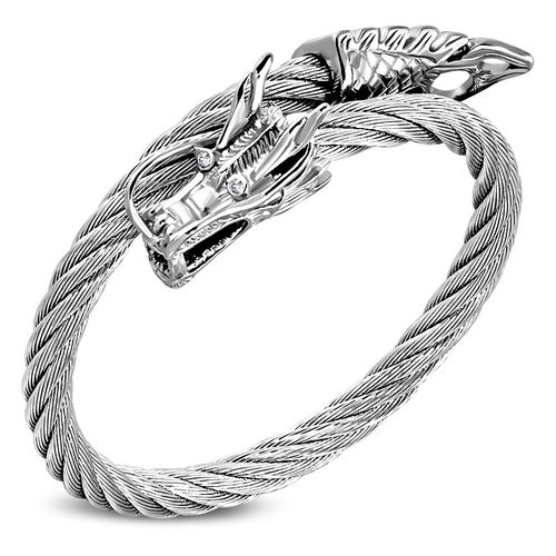 Stainless Steel Twisted Cable Wire Dragon Tail Torc Biker Cuff Bangle w/ Clear CZ