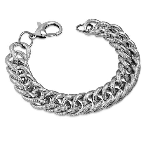 L-22cm W-16mm | Stainless Steel Lobster Clasp Closure Curb Cuban Link Bracelet