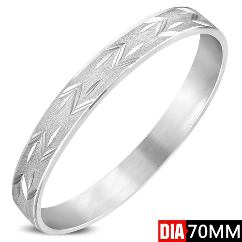 DIA-70mm W-10mm | Stainless Steel Sandblasted Diamond-cut Bangle