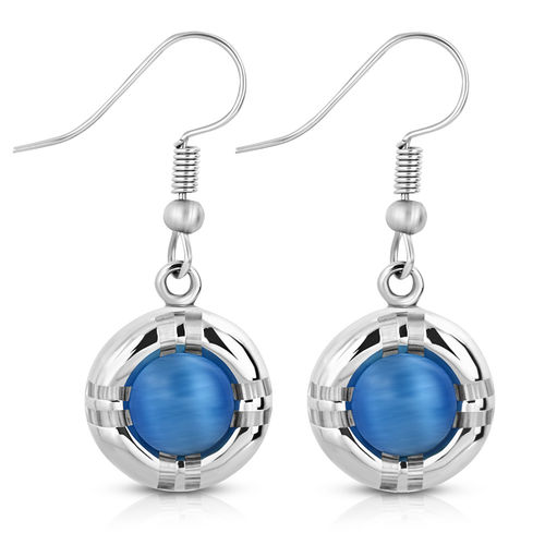 Torus Long Drop Dangle Hook Earring W/ Roung Cabochon Royal Blue Cats Eyes Stone (Pair)