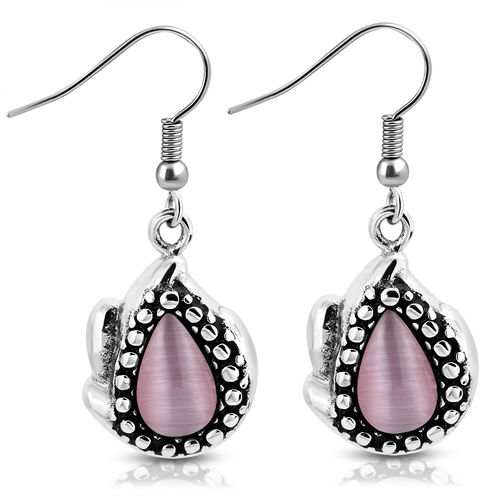 2-Tone Vintage Teardrop Hook Earring W/ Cabochon Light Amethyst Cats Eyes Stone (Pair)