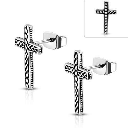 2-Tone Celtic Knot Latin Cross Biker Stud Earring (Pair)