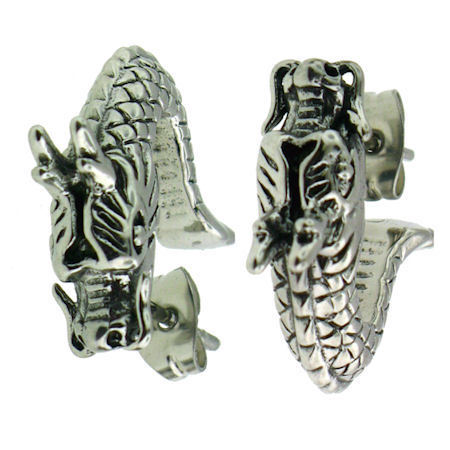 Stainless Steal Dragon Earring (Pair)